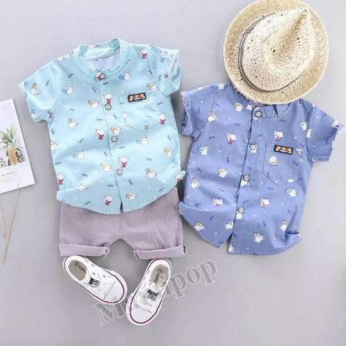 Boys' summer new polar bear Collar Shirt Short Sleeve shorts two piece cute cartoon suit