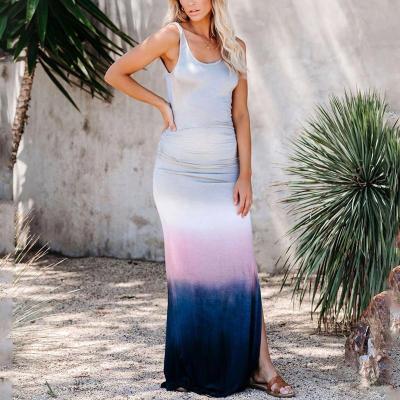 Maternity Scoop Neckline Tie Dye Maxi Dress