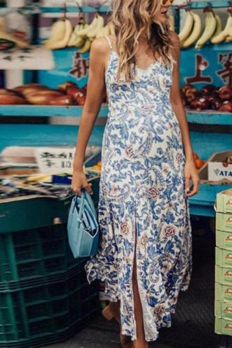 Maternity Casual Printed Split Strap Dress
