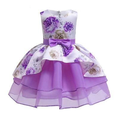 Summer Girls Printing Bow-Knot Princess Tulle Dress