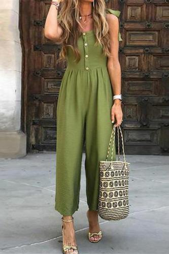 Maternity Fashion Suspension Button Holiday Casual Jumpsuits