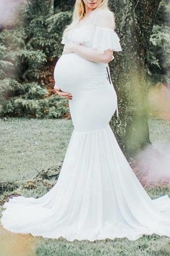 Maternity Trailing Short Sleeve Photoshoot Ruffled Dress