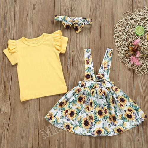 Girl cotton fly sleeve ha dress chrysanthemum back band skirt knot three sets spot
