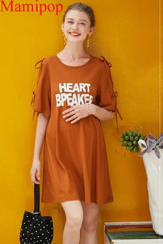 Short Sleeve Letter Printing Cotton Maternity Personality Dress