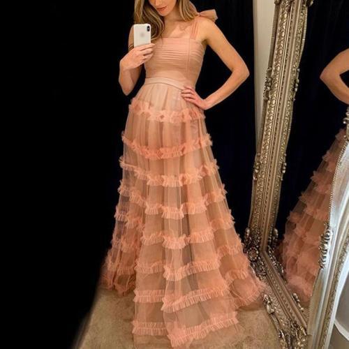 Maternity Sweet Pure Color Mesh Sling Dress