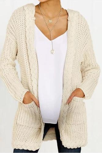 Maternity Hat Collar Basic Pure Color Cardigan
