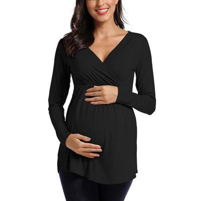 Maternity Women Breastfeeding Blouse Tops Long Sleeve Solid Nursing Shirt Maternity Blouses