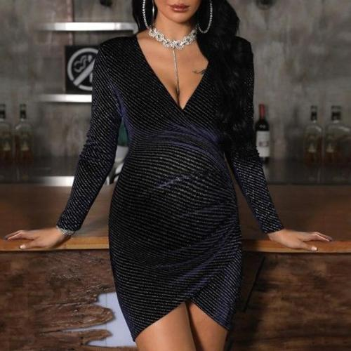 Maternity Sexy Deep V-Neck Crossover Design Hip Dress