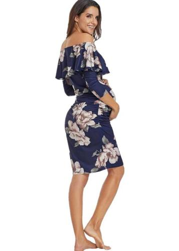 2020 Printed Women's One Line Maternity Dress