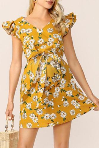 Maternity V-Neck Falbala Sleeve Printing Casual Dress