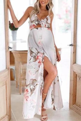 Maternity flower print tube top slit dress