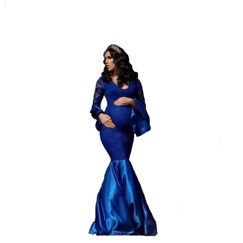 Long-sleeved Lace Spell Pregnant Woman Sexy Mop Long Skirt Pregnant Woman Photo Dress