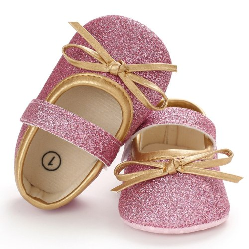 Bow Anti-slip Single Sneaker Casual Solid Bow Buckle Toddler Kids Shoes First Walker