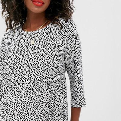 Maternity Casual Round Neck 3/4 SleevesPolka Dot Dress
