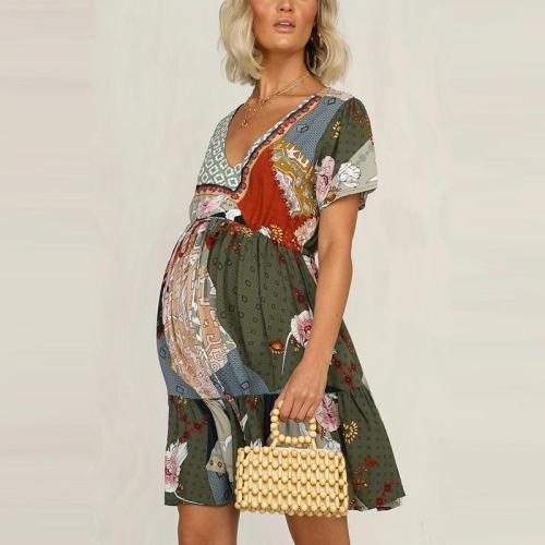 Maternity Bohemian V-neck Colorblock Printed Short-sleeved Chiffon Dress