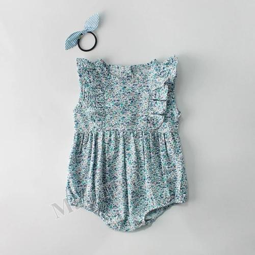 Summer Children's One-piece Clothes Baby Girls' Small Floral Pure Cotton Sleeveless Triangle Hardcover Creeper