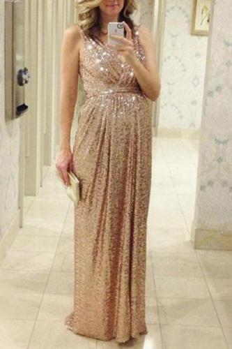 Maternity Sequin Condole Belt V-Neck Maxi Dress