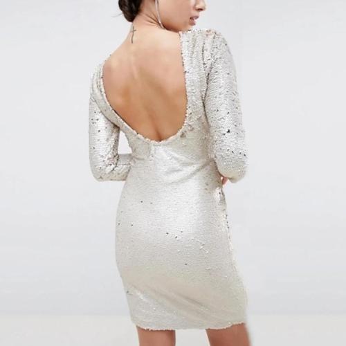 Maternity Round Neck Long Sleeve Bodycon Dress