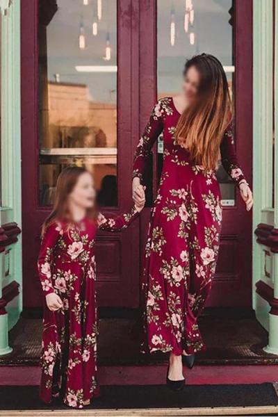 Mom Girl Elegant Floral Printed Long Sleeve Matching Dress