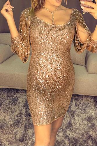Maternity Golden Shiny Party Dress