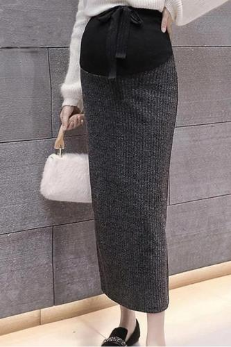 Maternity wear long knit split bag hip skirt