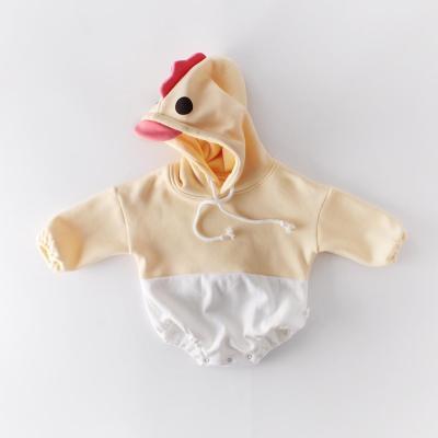Chicken Cartoon Splicing Newborn Clothes Hooded Bodysuit Creeper