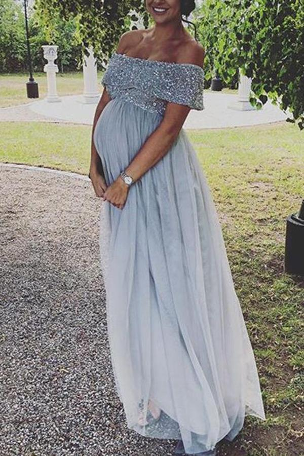 Maternity Sequin Decorated Top Tulle Detail Dress
