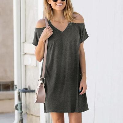 Maternity Casual V Neck Short Sleeve Pure Colour Off-Shoulder Dress