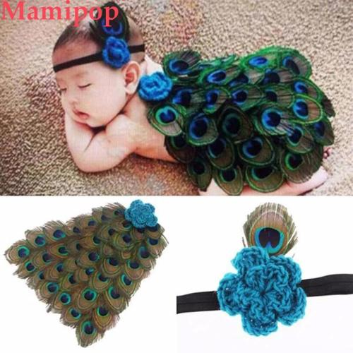 Baby Photography Props Peacock Clothes Cloak+Hairband Suit