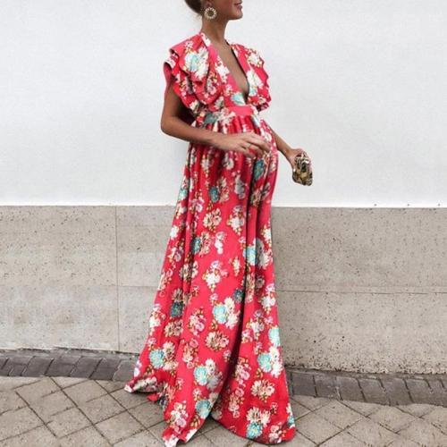 Maternity Deep V Neck Floral Pattern Dress