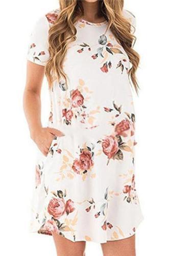 Maternity Short Sleeve Printing Casual Dress