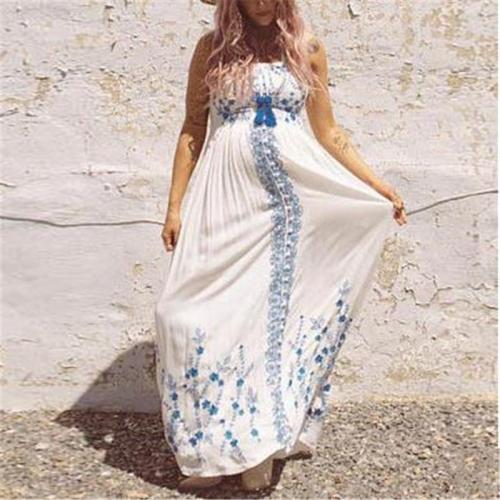 Maternity Elegant Tube Top Stitching Print Dress