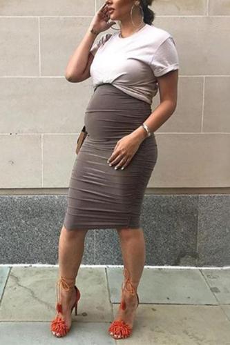 Maternity Solid Color Round Collar Midi Dress