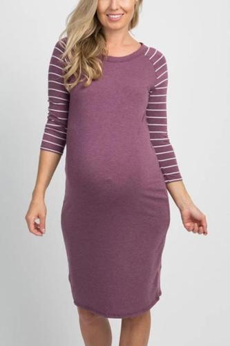 Maternity Casual Solid Color Round Neck Stitching Striped Long-Sleeved Slim Dress