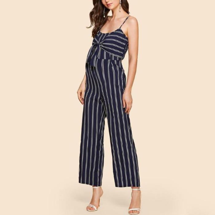 Maternity Strap Striped Casual Jumpsuit