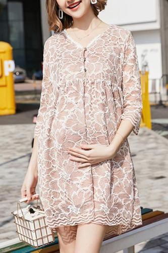 Maternity Lace Long-Sleeve Dress Fashion Hot Mom
