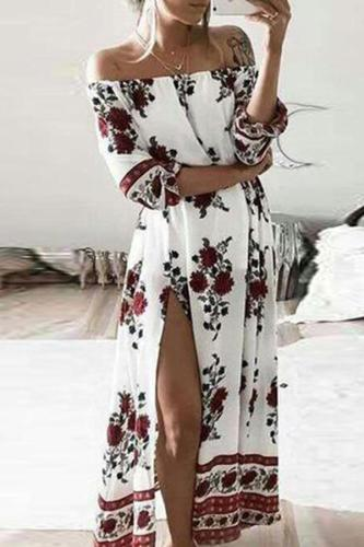 Stylish One-Shoulder High Slit Print Dress