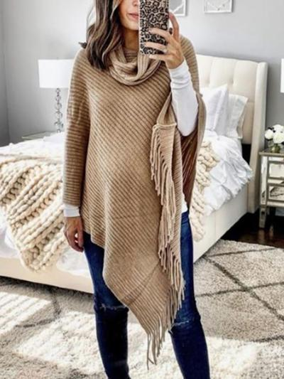 Maternity Irregular Hem Tassel Solid Color Sweater