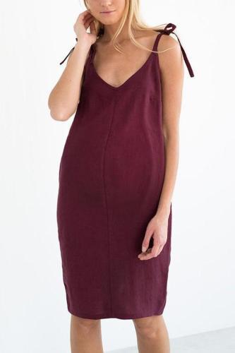 Maternity Plain V-Neck Spaghetti Strap Casual Dress