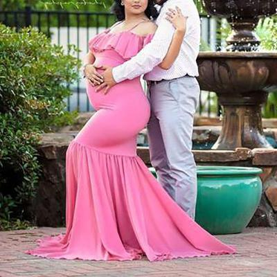 Maternity Sweet Pure Colour Ruffled Slip Maxi Dress