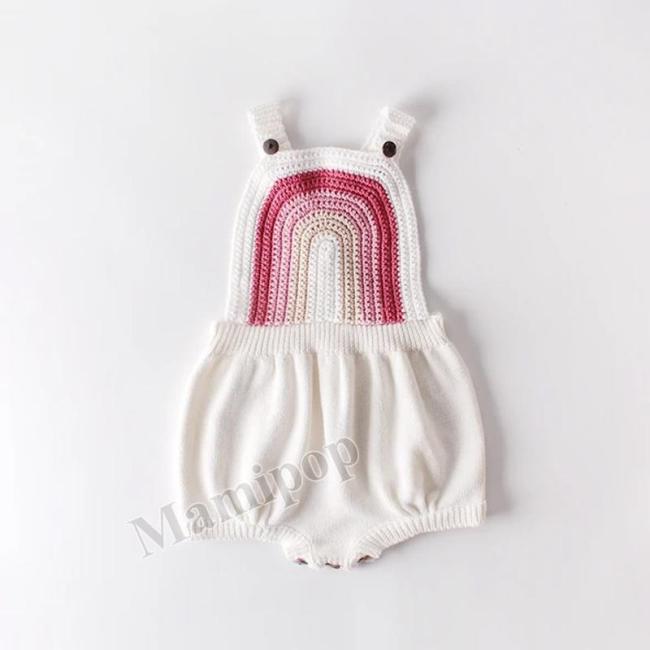 Baby Children Rainbow Strap White Knitting Wool One Piece Clothes