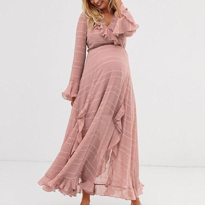 Maternity Sweet Long Sleeve Pure Colour Ruffled Maxi Dress