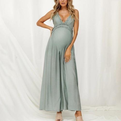Maternity Sexy Backless Plain Spaghetti Strap Jumpsuit
