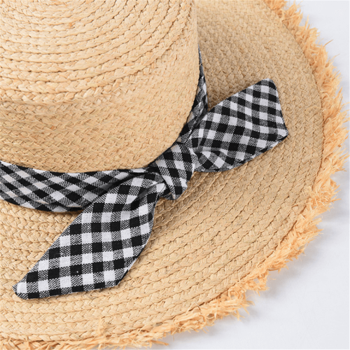 Fashion Casual Plaid Bow Straw Hat