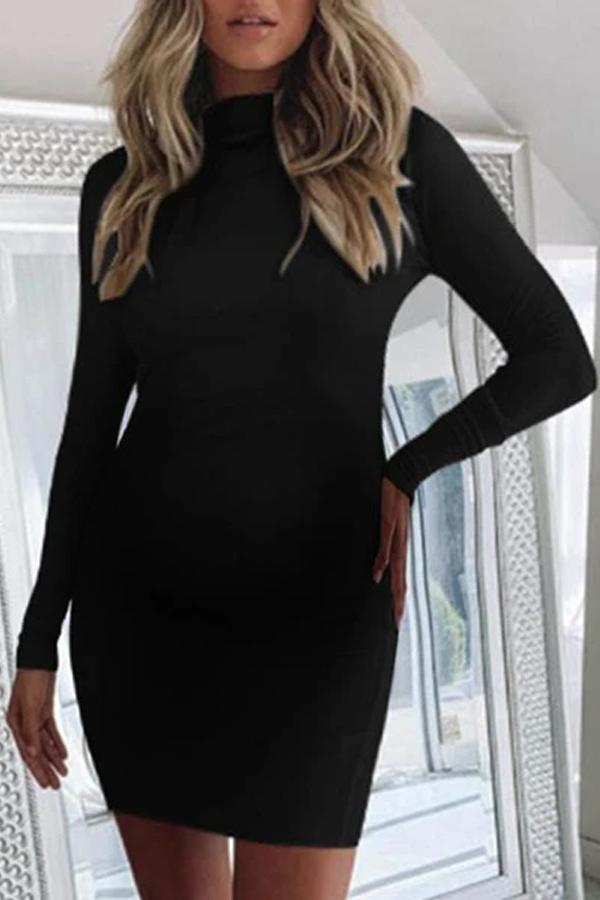 Maternity Sexy Halter Long Sleeve Turtleneck Hip Dress