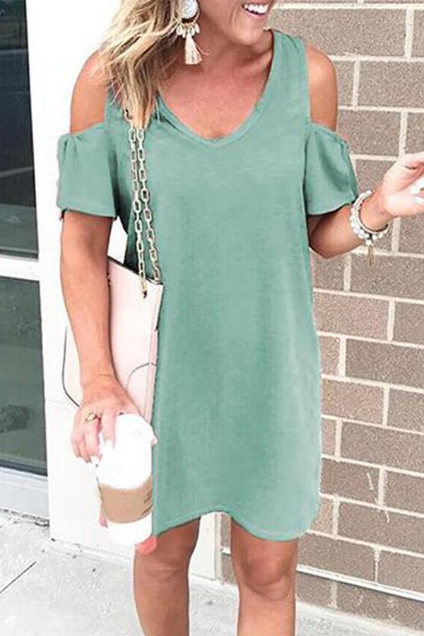 Maternity V-Neck Short Sleeve Dress