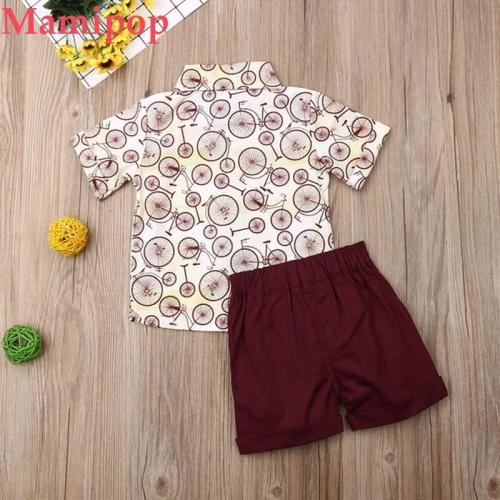 Baby Boys Clothes Sets Print Short Sleeve Shirts Tops+Solid Shorts Outfits