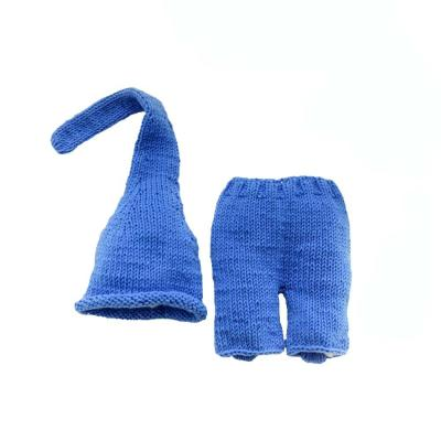 Dark blue handmade sweater baby set new photo propnewborn long tail hat cute baby clothes