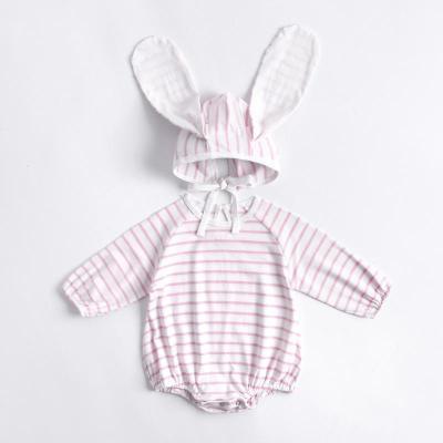 Fall Baby Girl Striped Long Eared Hat Creeper 2-piece Romper