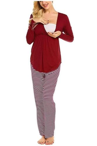 Winter Long Sleeve pajamas Women Maternity Nursing Pajamas Set